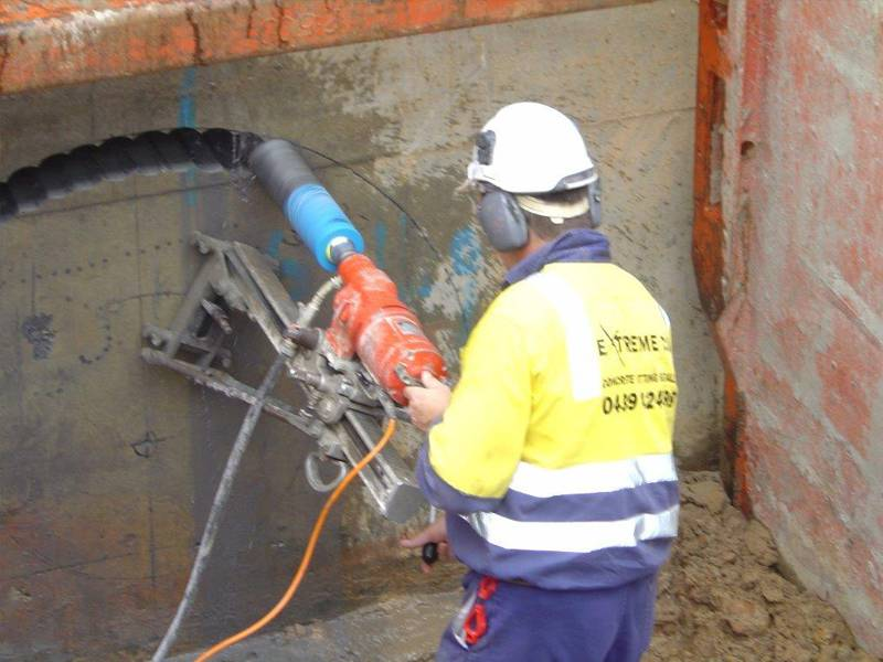 Stitch drilling 250 mm into a concrete wall
